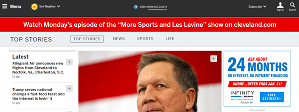 Cleveland.com homepage, morning of 1/15/19