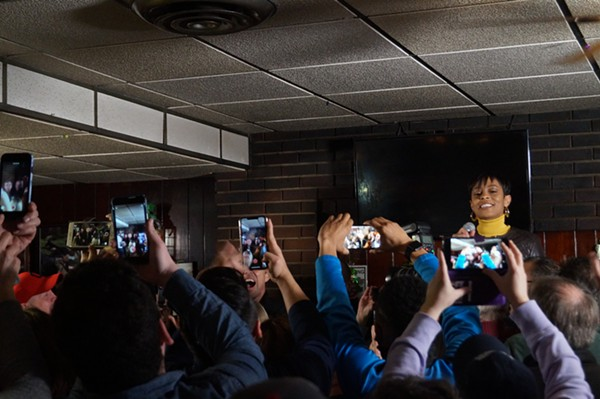 Shontel Brown warming up the crowd. / Beto O'Rourke at Gino's in Cleveland, (3/18/19). - SAM ALLARD / SCENE