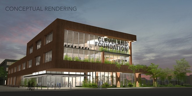Rendering of the Cleveland Foundation's proposed new headquarters in Midtown. - CLEVELAND FOUNDATION / S9 ARCHITECTURE