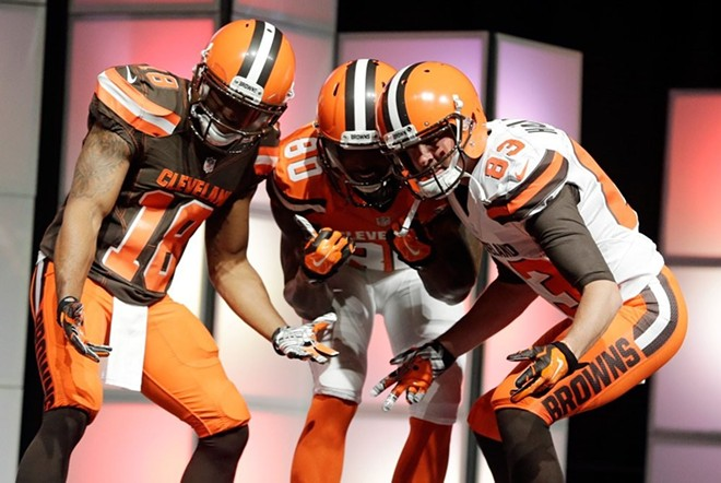 COURTESY CLEVELAND BROWNS, 2015 UNIFORM UNVEILING
