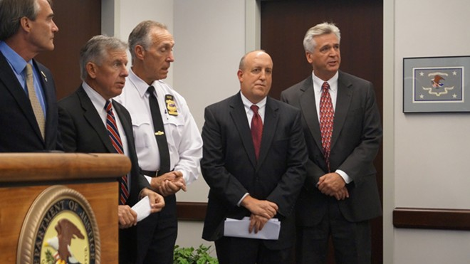 (from left to right): Euclid mayor Bill Cervenik, county prosecutor Tim McGinty, Mike McGrath, FBI special agent Stephen Anthony, Ohio High Intensity Drug Trafficking Area director Derek Siegle - DOUG BROWN/CLEVELAND SCENE