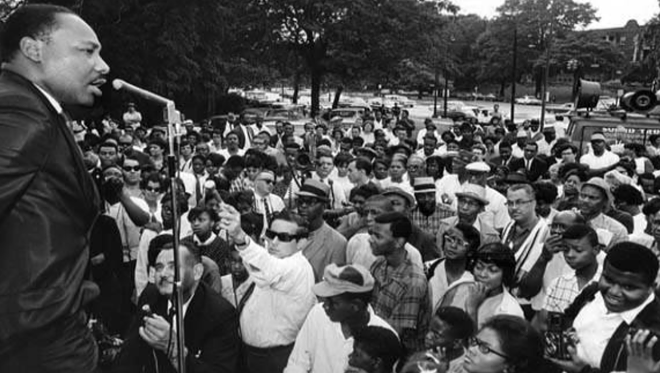 """Dr. Martin Luther King speaks in Rockefeller Park, East Blvd and Superior Ave."" 1967 - CLEVELAND MEMORY PROJECT"