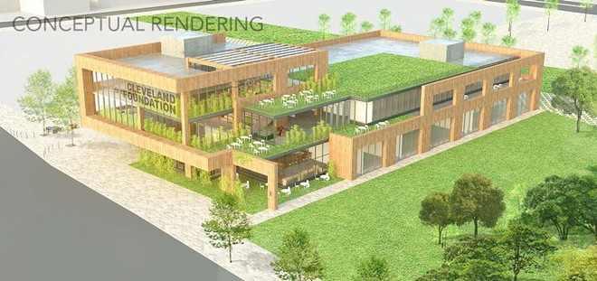 Conceptual rendering of proposed new Cleveland Foundation headquarters on the Dunhan Tavern Museum property at Euclid and E. 66th. - S9 ARCHITECTURE