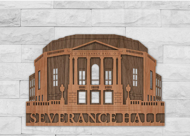An engraved piece of wooden art of Severance Hall from MadeCleveland.com by local artisan Inspired Indigo - PHOTO VIA MADECLEVELAND.COM