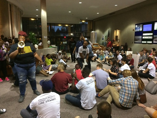 RALLY FOR LUKE STEWART AT EUCLID CITY HALL IN 2017 | PHOTO BY ERIC SANDY