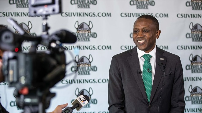 Men's basketball coach Dennis Gates is introduced in 2019. - CLEVELAND STATE UNIVERSITY
