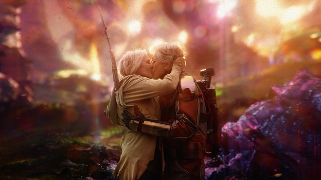 Michael Douglas and Michelle Pfeiffer smooch in the quantum realm in Ant-Man and the Wasp. - MARVEL STUDIOS