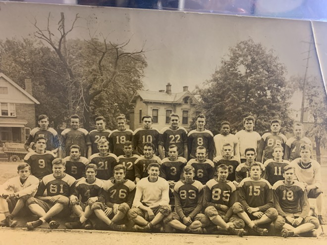 "Charles ""Chuck"" V. Williams, fourth from top right, and the Ohio School for the Deaf football team."