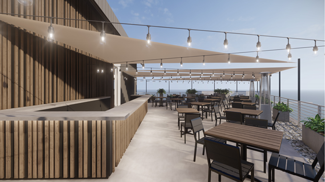 Artist's rendering of rooftop bar and dining. - RICHARDSON DESIGN