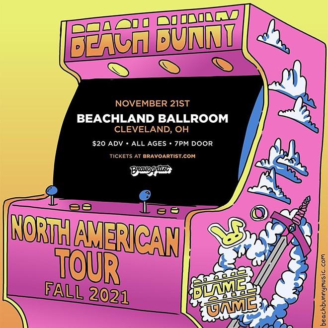 Beach Bunny's poster for its fall tour. - BEACHLANDBALLROOM.COM