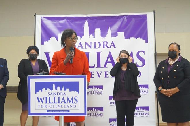 State Sen. Sandra Williams formally announces her bid for Cleveland Mayor at the Harvard Community Center, (5/3/21). - SAM ALLARD / SCENE