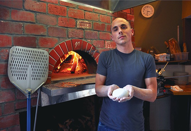 Marc-Aurele Buholzer in the kitchen of Vero, his wood-burning pizza shop in Cleveland Heights. - SCENE ARCHIVES