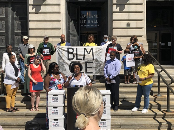 Brenda Bickerstaff speaks on the steps of Cleveland City Hall. - COURTESY CITIZENS FOR A SAFER CLEVELAND