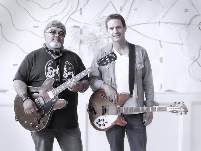 Local singer-songwriters Austin Walkin' Cane (left) and Chris Allen. - SEVERN SANDERS/MOLLY ALLEN