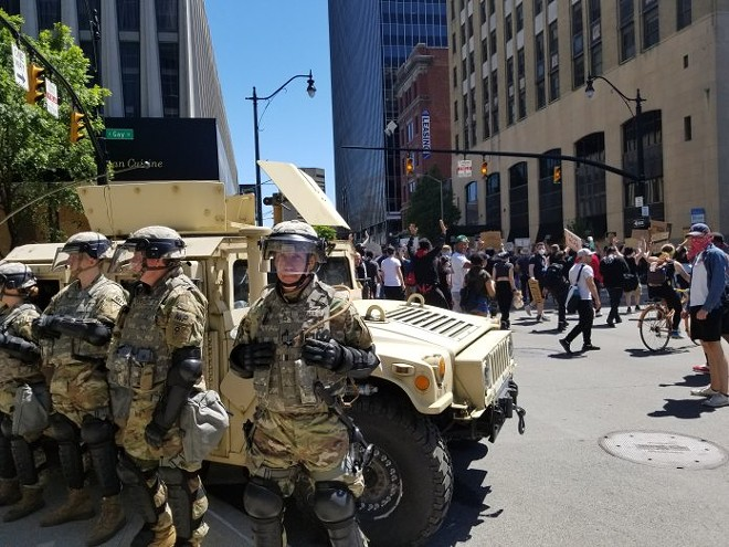 The Ohio National Guard stands post in downtown Columbus last year. Photo by Marty Schladen. - MARTY SCHLADEN/OCJ