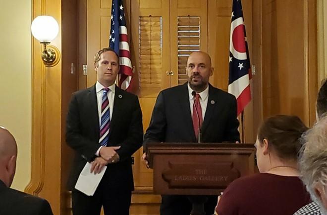 State Reps. Casey Weinstein, D-Hudson, and Jeffrey Crossman, D-Parma, speak at a Thursday news conference. Photo by Tyler Buchanan, OCJ. - TYLER BUCHANAN/OCJ