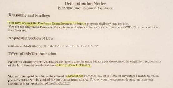 1 in 5 Ohioans who received pandemic unemployment were overpaid - OVERPAYMENT NOTICE