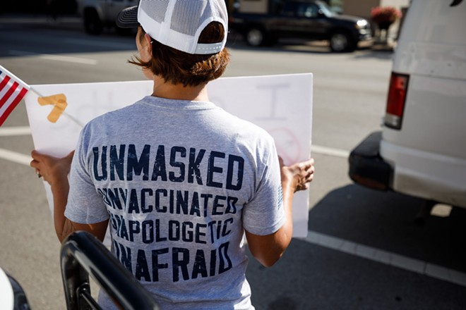 Groups opposed to mandated vaccinations protest on the grounds of the Ohio Statehouse, inside the House Health Committee meets to discuss HB 248 which would prohibit mandatory vaccinations and vaccination status disclosures - GRAHAM STOKES/OCJ