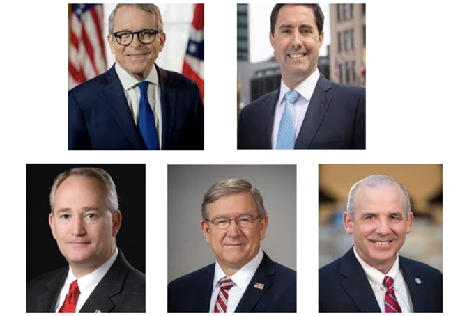 The Republican majority members of the Ohio Redistricting Commission. Top row from left, Ohio Gov. Mike DeWine and Secretary of State Frank LaRose. Bottom row from left Ohio Auditor Keith Faber, House Speaker Bob Cupp, and Senate President Matt Huffman. - OFFICIAL PHOTOS