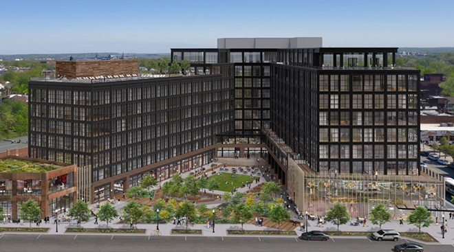 An artist's rendering of completed INTRO development in Ohio City. - HARBOR BAY AND IMAGE FICTION