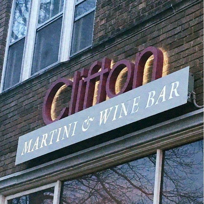The westside bar and restaurant has permanently clsoed - CLIFTON MARTINI & WINE BAR FB