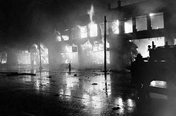 A fire during the riots in Glenville, 1968 - CLEVELAND MEMORY PROJECT