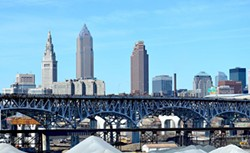 Downtown Cleveland as viewed from The Tremont neighborhood - AEROPLANEPICS0112