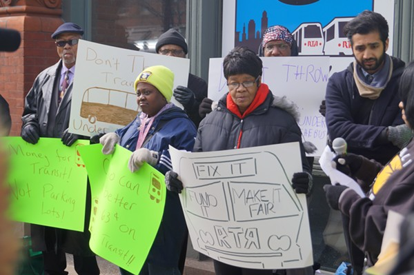 Clevelanders for Public Transit rally before RTA's first community meeting to discuss fare hikes, service cuts. - SAM ALLARD / SCENE