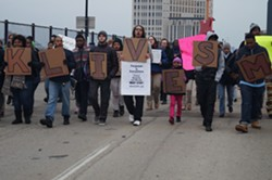 Protesters making their way up Huron, in 2015. - SAM ALLARD / SCENE