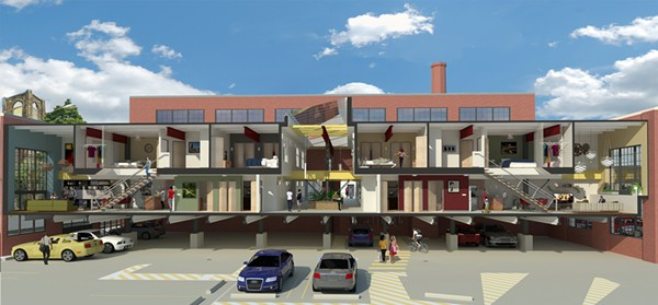 A rendering of the cross-section of the West 25th Street Lofts.