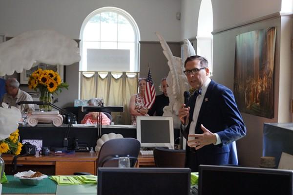 Cleveland City Councilman Brian Cummins addresses Green Party gathering. - SAM ALLARD / SCENE