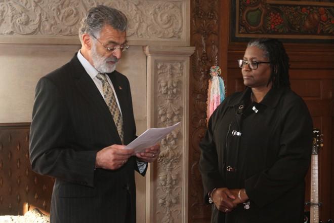 Frank Jackson and Police Sgt. Deidre Jones - COURTESY: CITY OF CLEVELAND