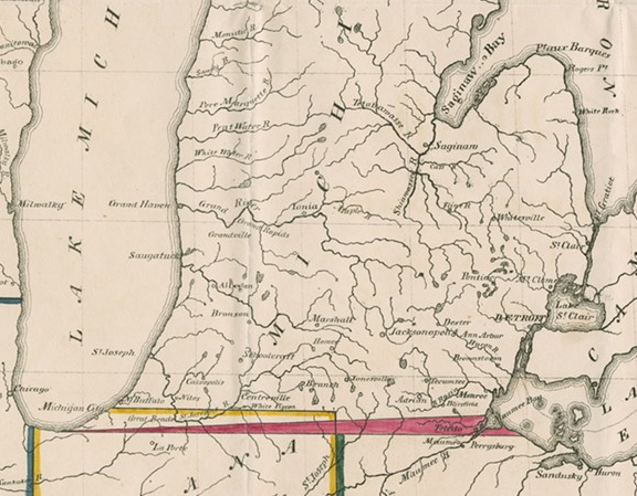 THE TOLEDO STRIP IS SHOWN IN RED