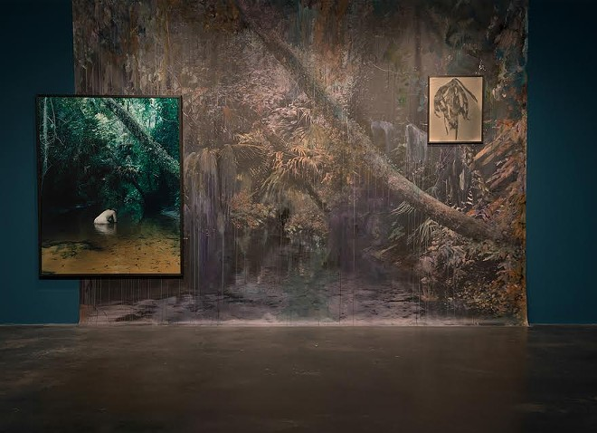 Installation View, from Heavy the Sea, 4x3 m painted backdrop, UV print painted with inks and acrylics, 125x165 cm Chromogenic print and 50x60cm toned fibre silver gelatin print