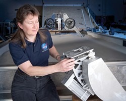 Diane Linne with a Percussive Excavation Bucket. - NASA