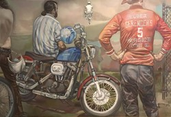 """The Hillclimb"" Shirley Aley Campbell, oil on canvas, 5x7' 1973"