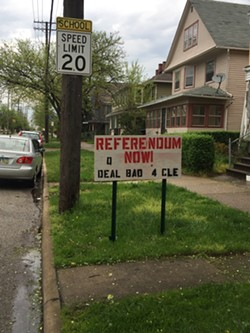 A home-made sign on W. 65th Street in Matt Zone's Ward 15 (Detroit-Shoreway). - SAM ALLARD / SCENE