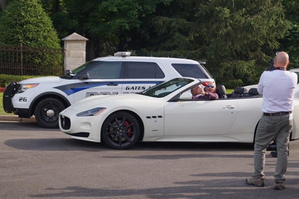 Developer Andrew Brickman, arriving in the evening's only Maserati; Frank's Fat Cat Festival Protest (6/28/17) - SAM ALLARD / SCENE