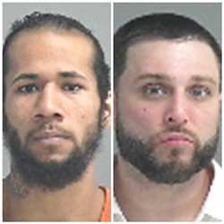 Mugshots of the two inmates. Chapman on the left and Hardy on the right.