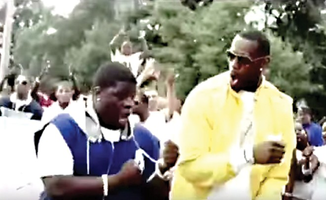 "Video Still from ""Came Down"" music video featuring Lebron James and Al Fatz dancing side by side."