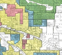 """Detail of """"Residential Security"""" (redlining) map created by the Home Owners Loan Corporation, 1940, showing Lee-Harvard area (Courtesy of the National Archives II, College Park, Maryland)"""