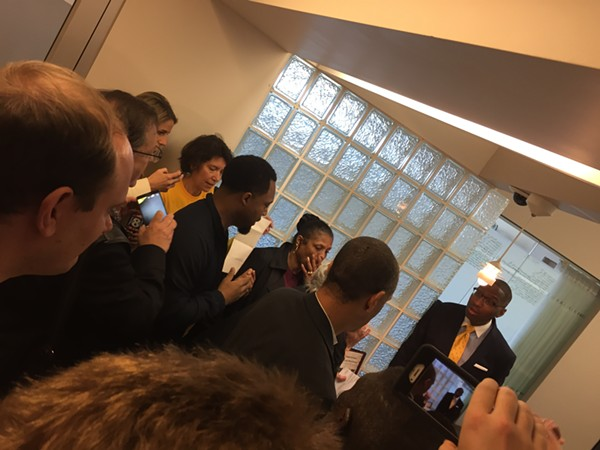 Councilman Zack Reed tries to explain Council's maneuvering to members of GCC, when referendum petitions were denied on 5/22/17. - SAM ALLARD / SCENE