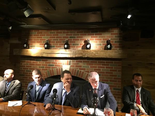 L-R: Robert Kilo, Tony Madalone, Eric Brewer, Brandon Chrostowski, Jeff Johnson; Cleveland Mayoral Forum, Market Garden (8/29/2017) - SAM ALLARD / SCENE