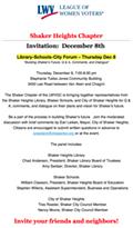 Shaker Library-Schools-City Forum – Thursday Dec 8 Building Shaker's Future: Q & A, Comments, and Dialogue