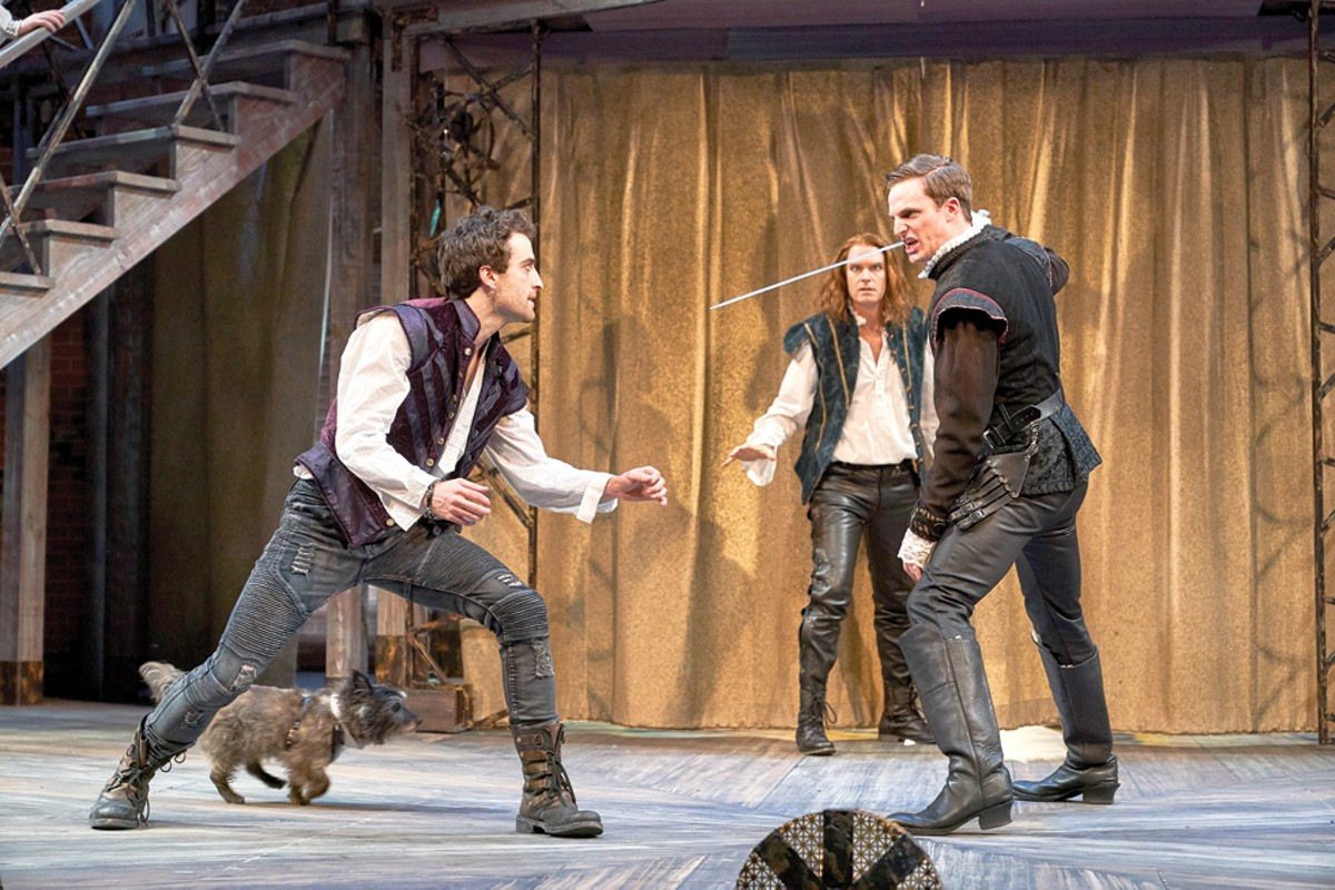 Foreground left to right: Charlie Thurston (Will Shakespeare), Nigel the Dog (Spot), Peter Hargrave (Lord Wessex). Background: Grant Goodman (Ned Alleyn).
