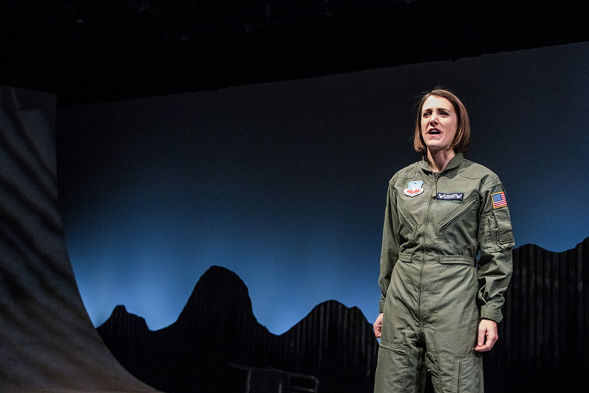 "Anjanette Hall as The Pilot, in Dobama Theatre's production of ""Grounded."""