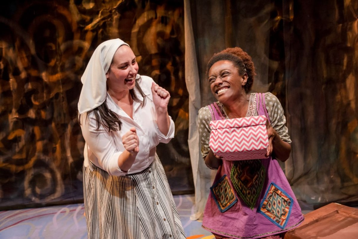 "Samantha Cocco as ""White Missionary"" and India Pierre-Ingram as ""The Black Girl."""