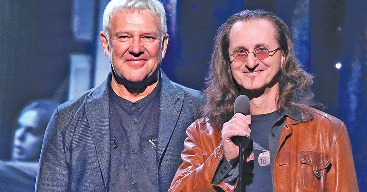 Alex Lifeson (left) and Geddy Lee of Rush will appear at the Rock Hall. See: Saturday.