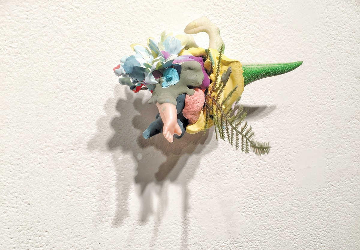 "Elizabeth Emery's plaster and mixed-media work, ""marker of a long time."""