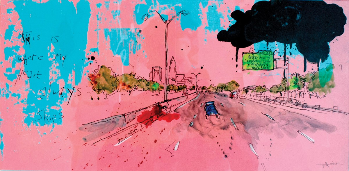 PTSD, by artist Dan Miller, records the scene of a frightening accident.